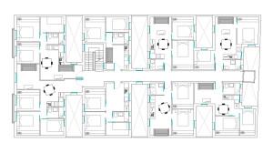 Distribución apartamentos de 1 y 2 dormitorios.